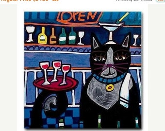 55% Off- Tuxedo Cat Folk Art Bartender Print on Ceramic Tile Folk Art Colorful Unique Gift  Harlequin