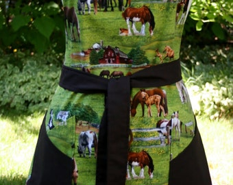 Ladies Reversible Apron - Horse and Western Print Fabric