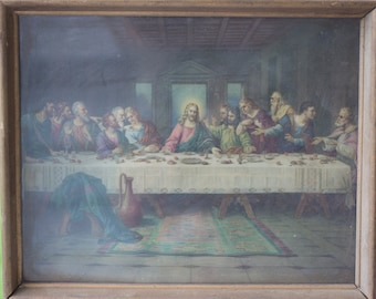 Antique Last Supper Print,  Vintage Framed Print, 1920's Religious Art Decor, Catholic Home, Christian Wall Art