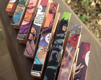 Comic Book Superhero Clothespins Party Favor and Decor - Set of 5