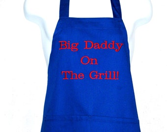 Dad Apron, Big Daddy On The Grill,  Custom Personalize With Name, Papa, Poppy, Grandpa, Gramp, PePa, No Shipping Fee, Ships TODAY, AGFT 378