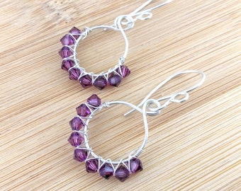 Purple Beaded Sterling Silver Hoops. Plum Swarovski Crystal Earrings. Purple Glass Earrings. Wire Wrapped Hoops. Beaded Hoops.