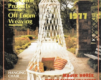 Vintage Macrame Pattern Hippie Bohemian Bedroom Porch Garden Hanging Chair Instant Download PDF Home Decor majikhorsefabrics