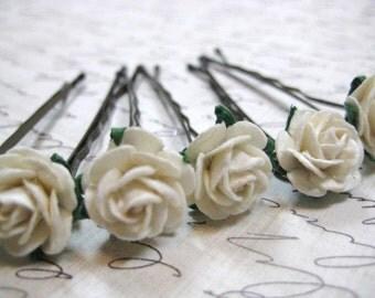 Ivory Rose hair pins