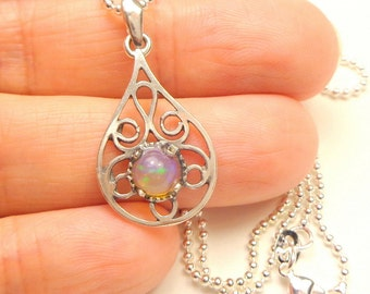 Welo Opal, Sterling Silver Filigree Necklace, Multi Color Play Stone, Blue Green,Orange, Lavender, Natural Gemstone,Collectors Stone