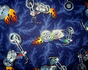 18X22, FAT QUARTER, Choppers, Blue, Flames, Lightning, Cotton Fabric, choppers fabric, choppers remnant, motorcycles fabric,