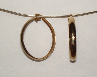 Vintage gold tone large hoop clipon Earring from 1970s