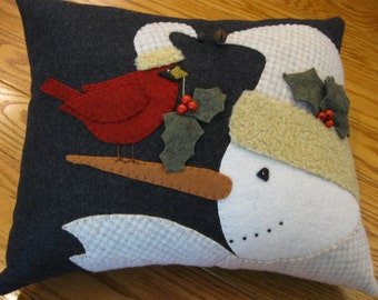 Snowman and Cardinal Wool Applique Christmas Winter Pillow Unique Christmas Gift Hand Made