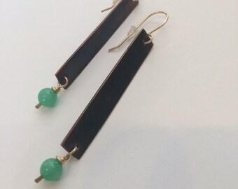 Copper Earrings, Long Copper Earrings, Textured Copper, Rustic Earrings, Jade Earrings