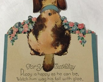 """Greeting card mechanical puppy wags tail Birthday Card Wishes 5"""" Happy Birthday die cut unsigned"""