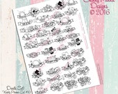 Hand drawn Doodle Banner Sticker Set 1  (digital)