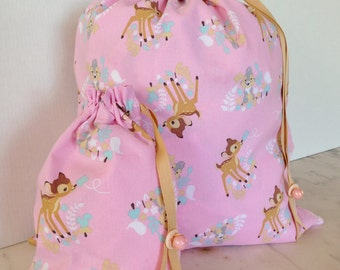 Pretty Simple Drawstring Project Bag Set - Bambi & Thumper - pink beige blue white