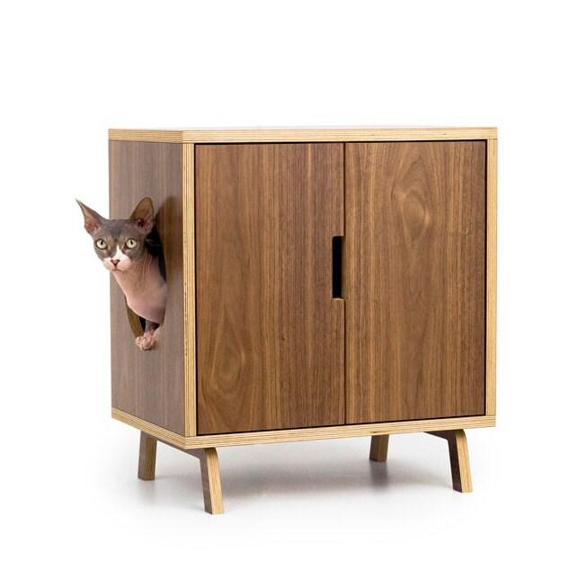 Mid Century Modern Pet Furniture Cat Litter Box By