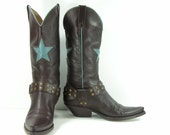 cowboy boots womens 9 B brown turquoisre star harness brass rivot western leather vintage fornarina
