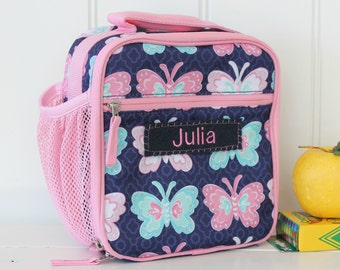 Lunch Bag With Monogram Classic Style Pottery Barn -- Navy/Pink Butterfly
