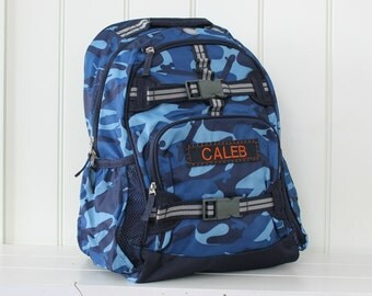 Small Backpack Pottery Barn (Small Size) -- Navy Camo with Gray Strap