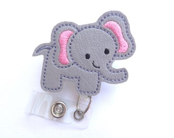 Cute Badge Holder Retractable badge reel - Elephant Love - grey marine vinyl elephant - nurse badge reel medical badge reel
