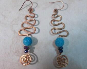 Blue Agate Earrings Copper Earrings Handforged Copper Earrings Warm Earthy Copper Fire Crackle Snakeskin Agate Earrings Graduation Gift