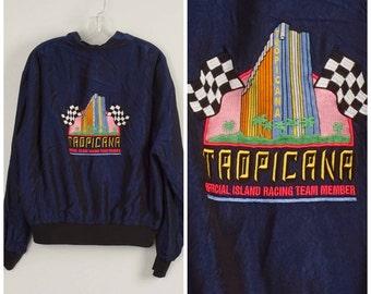 Tropicana Casino Las Vegas satin bomber jacket embroidered dark navy blue 80s zippered jacket men women unisex large XL