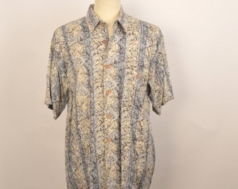 gray and tan striped patterned mens rayon shirt short sleeve vintage button up men Large