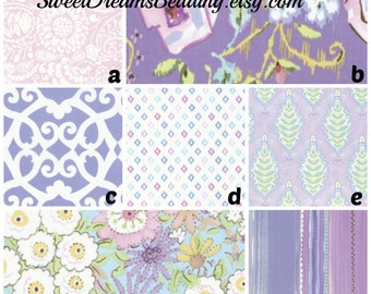 Custom Crib Bedding Purple Pink Floral Damask Stripe,bumper,skirt,fitted sheet