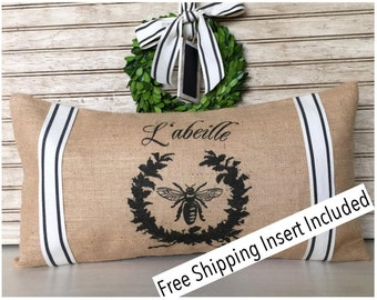 French Bee |French Country Decor - Burlap Pillow - Insert Included * FREE SHIPPING *