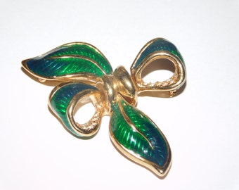 Green Enameled and Gold Clear Rhinestone Bow Brooch