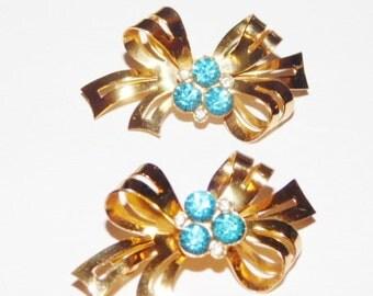 Vintage Coro Blue and Clear Rhinestone Bow Pins demi parure