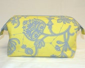 NEW Super Sized Make-Up/Travel Bag in Sunny Yellow and Light Grey Floral Pattern