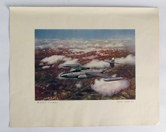 "Vintage 1950s Northrop F-89 Scorpion Jet Fighter Lithograph Print ""Ready for Framing"""