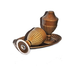 Vintage Salt and Pepper Urns. Shakers, Cellars.  Carltonware. Tableware. Brown. Caramel.
