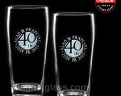 Set of 2 WEDDING ANNIVERSARY BEER Glasses: 1st 5th 10th 15th 20th 25th 30th 40th 50th Anniversary Glasses Gifts for Parents Ships to Canada