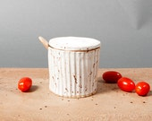 bowl with lid white danish kitchen speckled grooved ceramics handmade by pollipots scandinavian studio pottery decor poterie