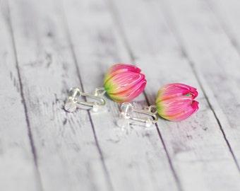 Clip on earrings, flower earrings, Silver clips, Floral clip-ons, Clip-on earrings with screw, Fuchsia pink clip-on earrings, Dangle Clip-on