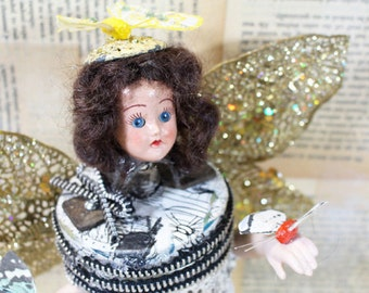The Butterfly Lady, Assemblage Art Doll, Assemblage Figure