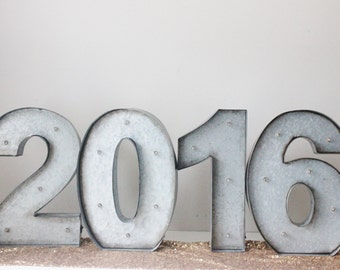 """2016 MARQUEE LIGHT NUMBERS Metal New Years Eve Wedding New Year Party Nye Decor Signage Lighted Large 15"""" Battery Operated Zinc Galvanized"""