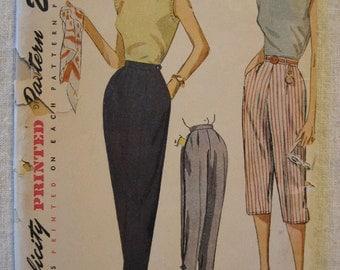 Vintage early 50s High Waist Pants Pattern Pedal Pushers Capris Cigarette Pants Slacks Simplicity 3578 Waist Size 26