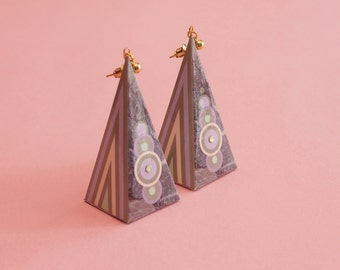 "Geometric Earrings // Pastel Earrings // Marble Earrings // Graphic Earrings // Op Art Earrings // Art Deco Earrings // The ""Hi-Fi"""
