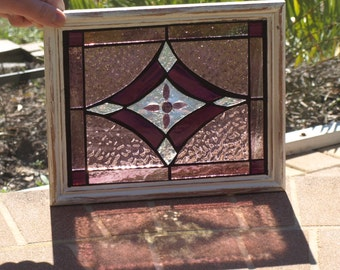 Stained Glass Mosaic Purple Rose Victorian Window Repurpose Frame