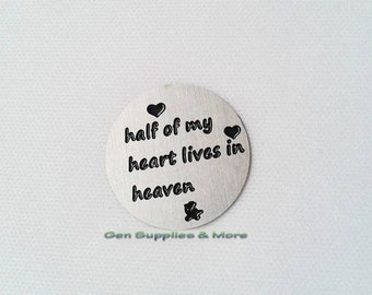 Half of my heart lives in heaven Floating Locket Plate, In Memory plate, heart plate, floating locket plate