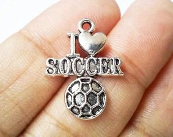 I love Soccer Antique Silver Charm, Antique silver Charms, I Heart Soccer Charms, Charms - 8pcs