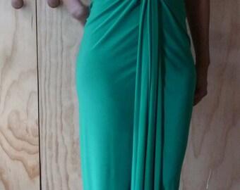 Kelly Green v neck dress, racer back dress, sleeveless dress, handmade by Cheryldine
