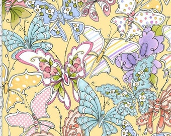 Loralie Designs Up And Away Yellow Swarm fabric - 1 yard