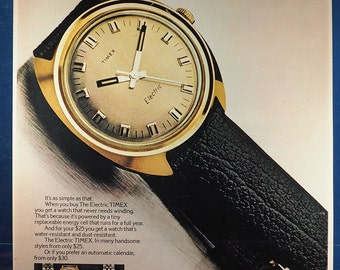 Vintage Magazine Ad Print Design Advertising General Electric Timex Electric Wrist Watch