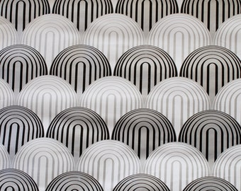 Vintage 1960s Japanese Abstract Scallops Wallpaper- White, Black, and Silver-Entire Roll!
