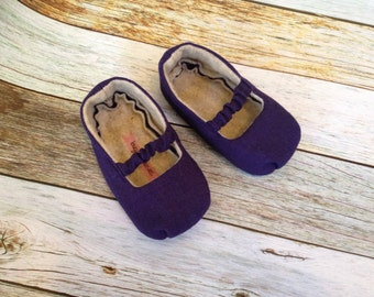 Navy Mary Jane Baby Shoes with Ruffled Strap - Size 0-18 Months - Solid Colors