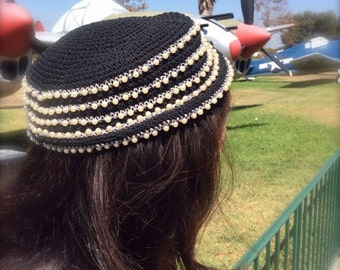 Vintage Black PillBox Hat / Crochet / Pearls / Silver Beads / Pill box /  Exquisite