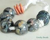 "Handmade Lampwork beads ""Subtle Green & Peach"" Creeky Beads SRA"