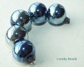 "Handmade Lampwork beads ""Blue Shine"" Creeky Beads SRA"