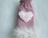 Pink knit sweater chihuahua with pink heart and feathers Pink Angora coat for chihuahua or small dogs Winter High fashion for puppy